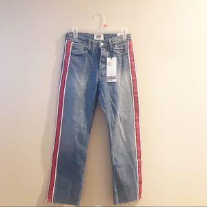 Zara Trafaluc denim Capri striped Jeans 2 34